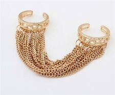 Korea Fashion Popular Multilayer Tassel Chain Gold Two Fingers Double loop Ring