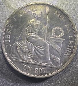 1864 Peru Un Sol - YB - KM196.2 -  Mint Error