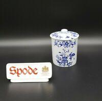 Spode BLUE BOWPOT (FINE STONE) Jam/Jelly Jar & Lid MINT RARE