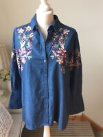 ZARA Blue Denim Chambray Floral Embroidered Shirt Size UK S (12) Boho Folk Art