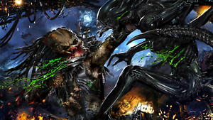 Predator Vs Alien Movie Cartoon Wall Art Large Poster & Canvas Pictures