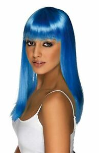 Adult Glamour Glamourama Long Chest Length Straight Hair Neon Blue Costume Wig