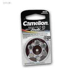 Pack of 6 Hearing Aid Battery A312 Batteries Camelion