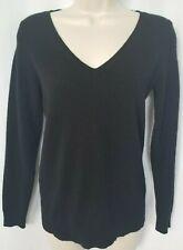 Ann Taylor Loft 100% Cashmere Sweater XSP XS Petite Black V-Neck Long Sleeve