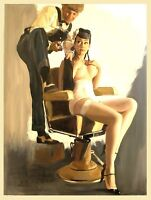 Vintage SEXY PIN UP GIRL IN BARB Retro Metal Tin Sign Poster Plaque Garage Wall
