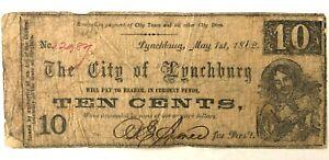 Civil War Confederate Lynchburg, Va. 10 Cent Note 1862