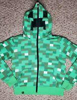 Minecraft JINX Green Creeper Hoodie Mask Youth S Boys Sweatshirt Jacket Full Zip