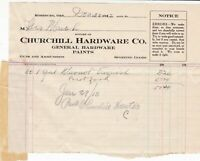 U.S. Churchill Hardware Co. Roseburg 1912 One Gal Varnish Paid Invoice Ref 42604