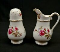 Bond Ware L&M Moss Rose Sugar Shaker and Creamer White and Gold with Pink Roses