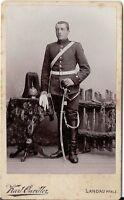 CDV photo Garde Soldat mit Pickelhaube und Busch - Landau 1900er