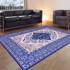 Teppich 100% Schurwolle Klassisch Persisch Orientalisch super Optik Blau Creme