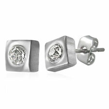 Stainless Steel Cubic Zirconia CZ Earrings & Studs for Men
