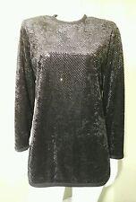 Vintage Anne FairBanks Black Velvet Sequin Designer Top~ Size 10