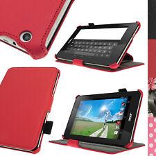 Rosso Eco Pelle Custodia Cover per Acer Iconia One 7 B1-730HD Stand Sottile Case