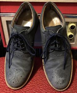 CLARKS Mens Navy Blue Suede Lace Up Brogue Shoes Size 7.5 UK 41.5 EU