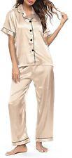 SWOMOG Womens Sleepwear Beige Size XL Silk Satin Button-Down Pajama Set $49 793