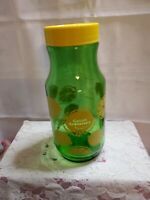 Vintage Anchor Hocking Golden Anniversary Green Glass Lemon Juice Jar Yellow