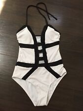 Plunge Cleavage Black White MONOKINI Swimsuit Bodysuit Halter Top