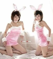 Halloween Womens lingerie White Pink Bunny Fancy Dress Costume S/M Hen Party