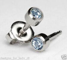 Silver Ear Piercing Earrings Studs 4mm Blue March Gem Stainless Hypoallergenic