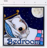 EXCLUSIVE DESIGN BEDLINGTON TERRIER DOG BEDROOM PAINTING SIGN BY SUZANNE LE GOOD