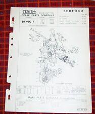 BEDFORD CA VAN A2 A3 TRUCK  ZENITH 30 VIG-7 CARBURETTER SPARE PARTS LIST.1952/56