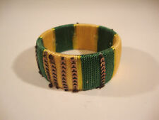 Bangle Bracelet Green and Yellow Beaded String