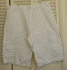 Mens Big and Tall White Denim Cargo Shorts Size 42 Lot 29 Premium Wear Brand