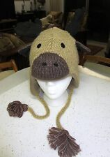 delux MOOSE HAT knit ADULT animal cap costume LINED thidwick toque antlers NEW