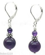 Beautiful Handmade Natural Purple Amethyst Gemstone Dangle/Drop Earrings