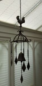 Wind Chime Large Loud Cast Iron Cockerel Bell Hanging Metal Home Garden 74cm New