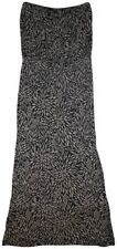 ACCESSORIZE Black Beige Abstract Floral Pattern Strapless Long Boho Maxi Dress L