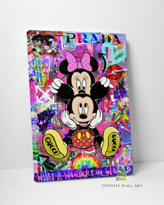 MICKEY MOUSE MINNIE Graffiti Canvas Art Wall Art Print Banksy Fashion Decor-D133
