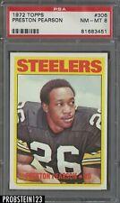 1972 Topps Football #306 Preston Pearson Pittsburgh Steelers PSA 8 NM-MT