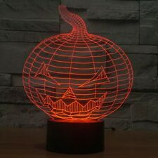 3D Lamp Pumpkin Jack Optical Illusion Led Night Light 7 Colors Touch Switch