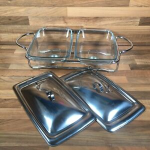 Vintage Double Glass Warming Dishes With Lids & Stand Candle Holders Food