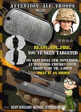 Boys army birthday invitation, army invitation, military party invitation x8 set