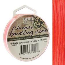 Knotting Cord .8mm 15 Meter Neon Deep Orange