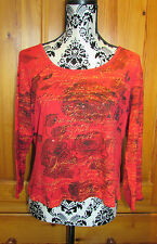 Ladies Red Shorty Long Sleeve T-Shirt UK 20 Wallis