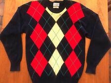 BULLOCK & JONES Cashmere argyle Crewneck sweater Navy Blue 42 Made in England