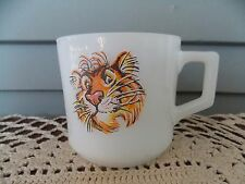 Vintage Fire King Anchor Hocking Milk Glass Coffee Cup Tiger in your Tank Mug