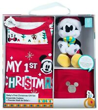 NEW Disney Santa Mickey Mouse TOY Baby First Christmas Gift Set ROMPER HAT 6 9