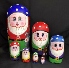 Hand-painted Wood Set Seven 7 Nesting Dolls Elves Dwarfs With Toys