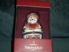 "Villeroy & Boch 4"" Snowman Treats Porcelain Hinged Trinket Box NIB"