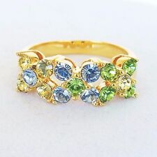 New Joan Rivers Ring Swarovski Crystal Blue Green Yellow Pastel Flower Sz 9 1/4