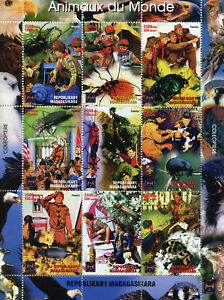 Madagascar Scouting Stamps 2005 MNH Beetles Animals of World Insects 9v M/S
