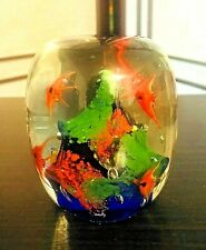 "Aquarium Glass Paperweight Cylinder Goldfish Colorful 3.5"" Heavy 1lb. 12 oz."
