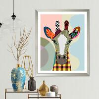 Giraffe Print Art Wall Poster Home Decor Giclee Colorful Animal Portrait Gift