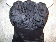 Strapless little black flower petal dress TWENTYONE stretch women's M sundress