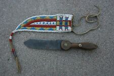 Large Antiq 00004000 ue Native American Knife and Beaded Hide Sheath Plains Indian Dag